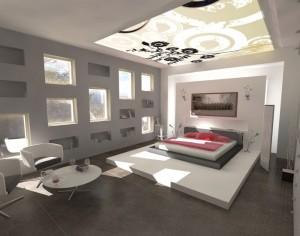 Дизайн потолка в спальне - фото