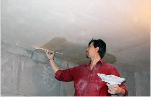 Выравнивание потолка штукатуркой - фото