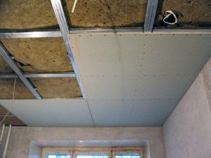 монтаж гипсокартона на потолке