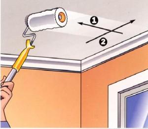 схема последовательности покраски потолка